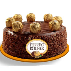 Ferrero Rocher chocolates, this 1 kg cake also makes for an excellent gift., Cakes to Bangalore