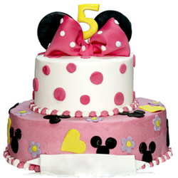 ring a delicious fondant cake to celebrate the special day of your cute angel. She will love this Minnie mouse cake and the delectable cake will delight all. It is a two-tier fondant cake with vanilla flavor., Cakes to Bangalore