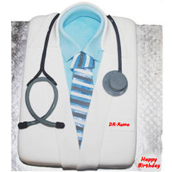 Doctor fondant vanilla cake Give a super delicious treat to your doctor and delight him/her on birthday or doctors day. The most loved vanilla flavor and the smooth creamy texture of this cake make this delight utterly delectable., Cakes to Delhi