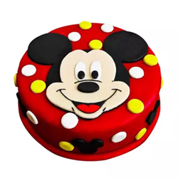 Mickey Mouse Blackforest Fondant Cake This Mickey Mouse Black forest Fondant Cake is a heart-stealer. It's perfect finishing and delicious taste is hard to resist, Cakes to Delhi