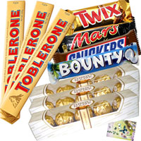 Treat your loved ones with Delicious Snickers, Mars, Twix, Bounty, 3 Toblerone 60 gms each, 3 Ferrero Rocher 5 pcs each with a Free Greeting Card with your message