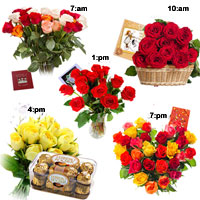 Day 1- Bunch of 24 Mix Roses Day  2- 50 Red Roses Basket  Day 3- 12 Red Roses in Vase  Day 4- Bunch 12 Yellow Roses + Fererro Rocher 16 pcs  Day 5- Heart Shape Basket of 50 Mix Roses