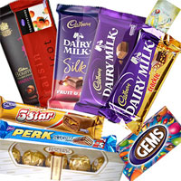 Treat your loved ones with Delicious Ferrero Rocher 5 pcs, 1 Temptations 72 gms, 1 Bournville 33 gms, 1 Perk 17 gms, 1 5 Star 22 gms, Cadbury Dairy Milk 38 gms, Cadbury Dairy Milk Fruit n Nut 42 gms, Cadbury Dairy Milk Crackle 42 gms, 1 Gems with a Free Greeting Card with your message