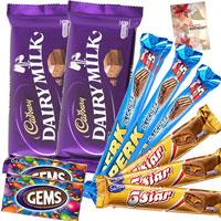 2 Cadbury Dairy Milk, 3 Perk,  3 Five Star, 2 Gems and Card