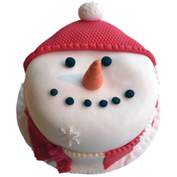 Christmas face cake This snowman cake epitomizes happiness and blessings