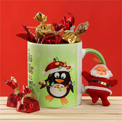 Funky Jingle Bell Ceramic Mug with Chocolates and Santa Claus Soft Toy