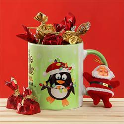 Funky Jingle Bell Ceramic Mug with Chocolates and Santa Claus Soft Toy Chocolates (10 units)