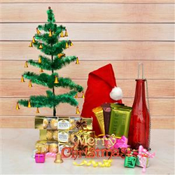12 Ferrero Rocher, 1 Temptation Cashew 72g, 1 Temptation Almond 72g, 1 Temptation Raisin 72g, Red Glass Bottle Candle Stand, Santa Cap, Christmas Tree (2 ft), Christmas Ornaments