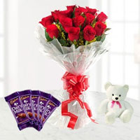 This lovely combo of 12 Red Roses and 5 Chocolates 13 gm each and 6 inch teddy