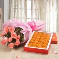 10 Pink Roses Pink Paper Packing bunch Moti Choor Laddu 1kg