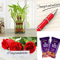 Congratulation Greeting card + Good Luck Bamboo plant.