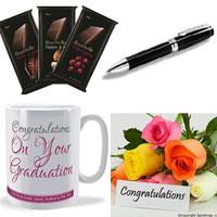 3 Bournville Raisin & Nut (33 gmeach) Chocolates+ 10 mixed roses bunch+ Congratulations mug+ NOrmal pen