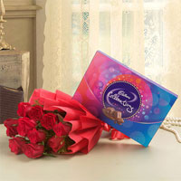 Your Gift Contains: Bouquet of 10 Red Roses Cadbury Celebrations Chocolate Box - 131.3 grams