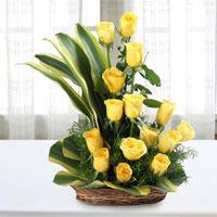 Yellow Roses – 20 Dracaena Leaves & Green Fillers