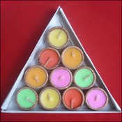A set of 10 small wax Diyas filled with aromatic floral wax.