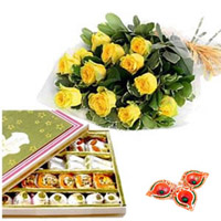 The hamper comes with 1 Kg of assorted sweets in a nice gift box and 12 Yellow roses bunch.