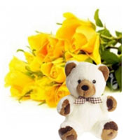 Bunch of 15 Yellow Roses along with 6 Inch Teddy Bear
