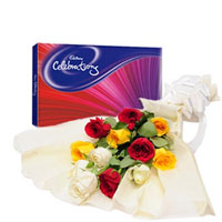 Bunch of 4 Red Roses, 4 Yellow Roses, 4 white roses in cream color paper packing with white ribbon now and box of 119 gms cadbury celebration chocolate.