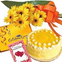 Bunch of 10 Yellow Gerberas , 1Kg Pineapple Cake & 1 box of Cadbury Celebration