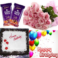 1/2kg black forest cake + 12 pink roses bunch + 2 pieces. Cadburys Dairy Milk Silk Fruit and Nut Each chocolate wt 65 gms + birthdat card <br> <img src=images/Exp-Deliverys.gif width=75 height=29>