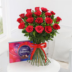 Bouquet of 12 Red Roses with Cadbury Celebrations Box