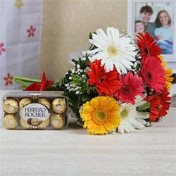Bouquet of 10 Mix Gerberas with 16 Pcs Ferrero Rocher Box