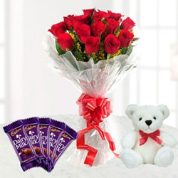This lovely combo of 12 Red Roses and 5 Chocolates and 6 inch teddy