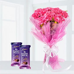 Send this amazing combo.10 Pink Carnations Bunch 2 Cadbury Dairy Milk Silk Chocolate eah one 65gms