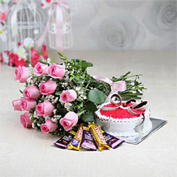 12 pink roses bunch 1/2kg kg pineapple cake and 5 bars of chocolates.each one 13gms