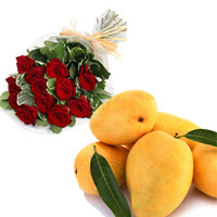 12 red roses bunch + 6 Special Banginapalli Mangoes