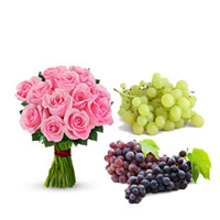 12 pink roses bunch + 2kgs of grapes