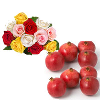 12 Mixed roses bunch + seasonal fresh pomegranates for your loved ones. 6 Nos