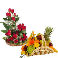 24 Red roses one side basket with Basket of 4 kg fresh mix fruits.