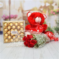 10 Pcs of Red Roses Bunch, Ferrero Rocher T24,10ins Red Teddy bear