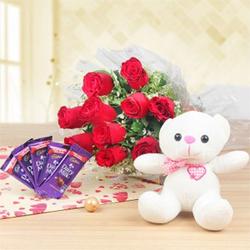 10 Red Roses Bunch  5 Cadbury Dairy Milk Chocolate 13 gm each  6 inch Teddy Bear