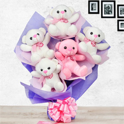 Send this amazing bouquet of 5 cute teddies in special packing to your loved ones One - 6 inches Pink teddies  Four - 6 inches White teddies