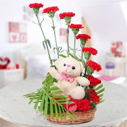 It really feel out of the world when you are in love because love is the most beautiful feeling in one's life. Half moon shaped arrangement of 12 Red Carnations  6 inches Pink teddy