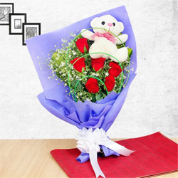 This gift hamper can seriously touch the chord of your loved one's heart. Bunch of 9 Red Roses  6 inches White teddy