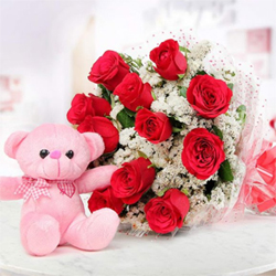 The combo consists of a Bunch of 12 red roses and a cute 6 inch pink teddy