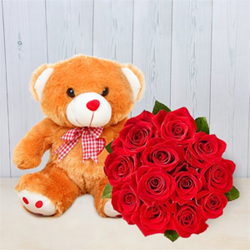 This is an ultimate combo with one 10 inch big teddy and 12 lovely red roses for impressing your loved ones