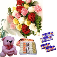 10 Mixed Roses Bunch 1/4 kg Mixed Sweets small teddy 2 Dairy milk chocolates