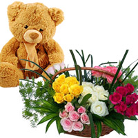 100 Mixed roses basket  16 ins Teddy Bear (color & design of teddy may vary as per availabilty)