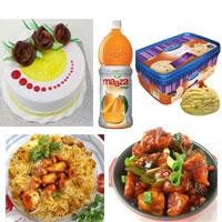 1 Plate Chicken Joint Biryani +  1 Plate Chicken fry + A tasty ice cream (700 ml) +1kg Pineapple cake+ 2 ltr Maaza