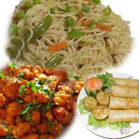 Veg Manchurian 1 Plates  Veg Spring Rolls 1 Plates  Veg Noodles  1 Plates