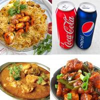 Chicken Biryani 1 Plate, Chilli Chicken 1 Plate , Chicken Curry 1 Plate , 4 Cool drink tins( Pepsi or Coke etc)