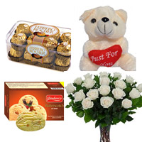 12 white roses bunch +FERRERO ROCHER 16PC+A tasty ice cream (1 Ltr) garnished with praline Ice Cream+ small teddy