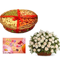Dry Fruits in a Basket Gift your dear brother 400 Gms+ 50 white roses & white gerbers basket