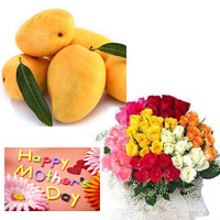 Send this beautiful 50 mix roses bouquet to your beloved in Roses colour may vary as per availability.  Special Banginapalli Mangoes 10 pieces