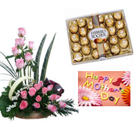 Basket of 24 Pink Roses surrounded by Gypsophila in a Basket. +Ferrero Rocher 24pc