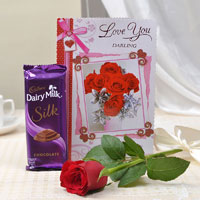 Express your long time love   Cadbury silk  chocolate weighing 60 gm with a love card